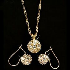 18k Rose Gold GP Swarovski Crystal Diamond Bead Ball Necklace Earrings Sets S2b