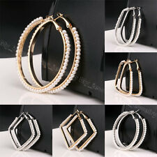 Fashion Women Pearl Ear Hook Hoop Oval Circle Square Earrings Gift Wedding Party