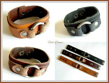 CHUNKY LEATHER BRACELET BY BIG METAL OF LONDON. CHOICE OF 3 COLOURS. FREE POST!!