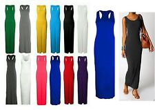 Womens Maxi Long Dress Jersey Racer Back Sleeveless Long Ladies Maxi Dress 8 -26