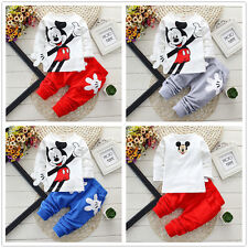 2PCS Kid Baby Boy Cartoon Mickey Clothes Long Sleeve Casual Tops + Pants Outfits