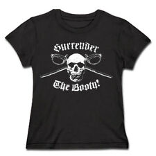 Womens Surrender the Booty Skull Swords Pirate T Shirt