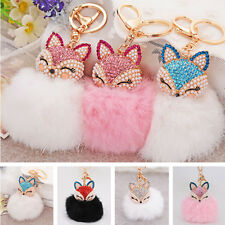 Fox Fur Pearl Rhinestone Ball PomPom Key Chain Ring Car Pendant Bag Top Sale