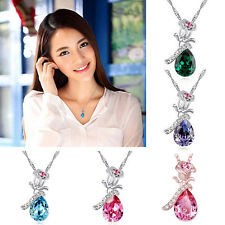 Magic Angel's Teardrop Charm Austrian Crystal Pendant 14K Silver Plated Necklace