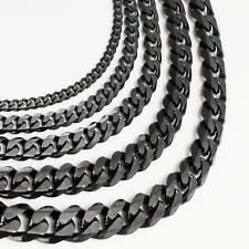 3/5/79/11mm MENS Chain Black Tone Curb Link Stainless Steel Necklace 18-36'' HOT