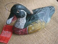 Hand Painted & Carved Wooden Woodland or Mallard Duck Hunting Christmas Ornament