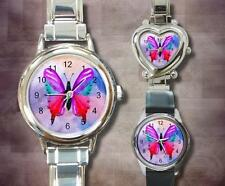 Italian Charm Metal Watch Design 10 Butterfly Pink by L.Dumas