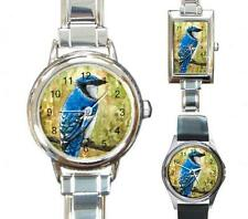 Italian Charm Metal Watch Round Square Bird 67 Bluejay art painting L.Dumas