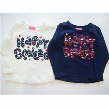 Girl Toddler Clothing T-shirt Top Long Sleeves White Blue New 1-4 Years