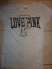 "VICTORIAS SECRET PINK BLING SEQUIN ""LOVE PINK ""P"" CUFFED SCOOPNECK TEESHIRT NWT"