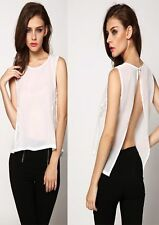 Women  Sleeveless Sexy Chiffon Patchwork Lace Backless Loose Top Blouse - CY168