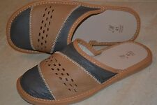 Mens Sheep Leather Gray Tan Slippers Sandal Shoes Handmade In Poland Slip On