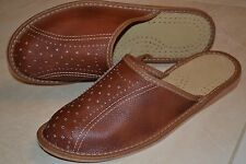 Mens Natural Leather Brown Slippers Shoes Sandal Handmade In Poland Kapcie New