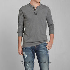 NEW ABERCROMBIE & FITCH L/S Shirt for Men * A&F Deer Brook Henley Tee H Grey $58