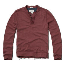 NEW ABERCROMBIE & FITCH L/S Shirt for Men A&F Deer Brook Henley Tee Burgundy $58