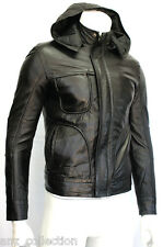 Men's Ghost Protocol Mission Impossible Hooded Fitted Black Napa Leather Jacket