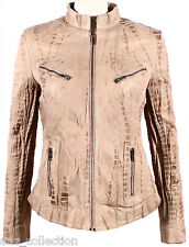 Diana Ladies Beige Croc Biker Genuine Real Nappa Leather Fitted Style Jacket