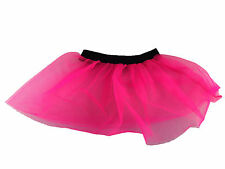 Womens Ladies Girls Hot Pink Neon Tutu Net Skirt 80s Fancy Dress race for life