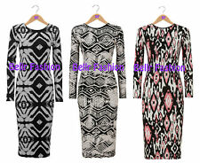 NEW WOMENS LONG SLEEVED STRETCH DISCHARGE PRINT BODYCON MIDI DRESS SIZE UK 8-14