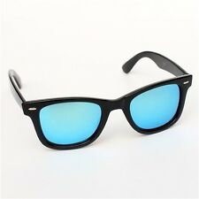 Womens Celebrity Mirror Lens Sunglasses Retro Wayfarer Mens Eyewear Black Ladies