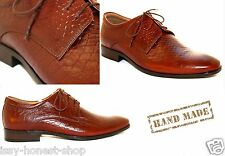 Wholesale Bulk 6 Pairs Mens Handmade Brown Leather Smart Formal Lace Up Shoes