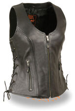 Shaf Women's Sidelace Leather Motorcycle Vest MLL4531