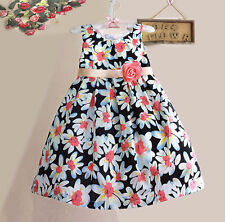 Girls Dress Black Floral Two Layers Party Pageant Children Clothes 2-8Y NWT
