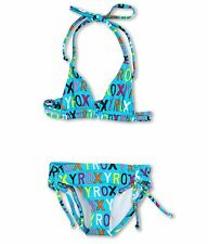 NWT ROXY Bikini Set Girls 14 Kids Two Pieces Swim Junior Roxy Big Logo Vibrant