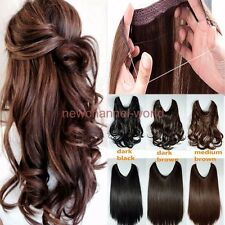 Long Real Straight Curly Wire Headband One Piece Clip in on Hair Extensions USA