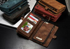 Genuine Leather Wallet Zipper Flip Book Stand Card Cover Case iPhone 6 6S Plus