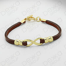 Genuine Brown Leather Silver / Gold Infinity Eternity Love Karma Bracelet Women