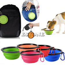 Pet Dog Cat Portable Foldable Collapsible Food Bowl Camping Travel Dish Feeder