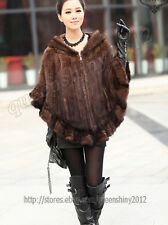 New 100% Real Knitted Mink Fur Stole Cape Poncho Scarf Coat Hoody Women Winter