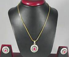 Pendant Necklace Earrings set Red Green color stones CZ AD Indian Pretty Jewelry