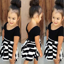 Set  Dress  Skirt  Clothes  T-shirt + Striped Baby  Kids  Girls  Outfits