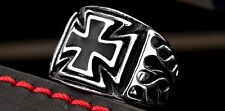 Fashion Mens Stainless Steel Cross Silver Band Crucifix Wedding Sz Ring Jewelry