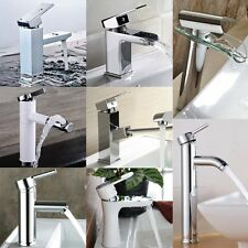 Modern Chrome Bathroom Basin Sink Counter Top/Pull Out/Glass Waterfall Mixer Tap