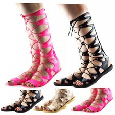 Womens Ladies New Knee High Lace Up Jelly Sandals Gladiator Flat Summer Shoes