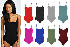 NEW LADIES WOMENS THIN STRAP SEXY CAMI BODYSUIT LEOTARD TOP SIZE 8 10 12 14