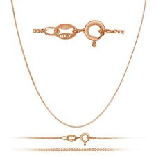 """1mm Sterling Silver Box 18K Gold Plated Chain w/Spring Ring In Lengt 12 - 36"""""""