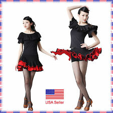 SCC6666BKRD (S-XXL) Ballroom Latin Rhythm Salsa Swing Dance Dress Top Skirt Set