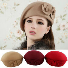 Fashion Women Ladies Wool Beret Beanie Cap Autumn Winter Warm 2 Flowers Felt Hat