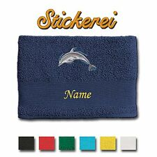 Towel Shower Bath Cotton embroidered Dolphin + Name