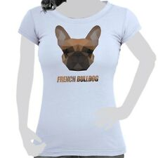 Ladies Ladies' T-Shirt Shirt Cotton Polygon Pressure Dog French Bulldog