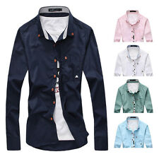 Mens Luxury Casual Shirts Long Sleeve Slim Fit Stylish Dress Shirts T-Shirts Hot