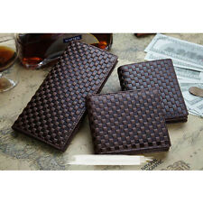 Men's Soft Grid Genuine Leather Coffee Wallet Coin Purse Card Holder Case Clutch