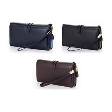 Mens Zipper Genuine Leather Wallet Wrist Bag Coin Purse Card Holder Case Clutch