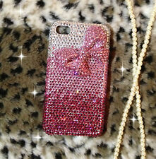 For Mobile Phone Sparkly Cute Pink Bow Rhinestones Bling Diamond Hard Cover Case
