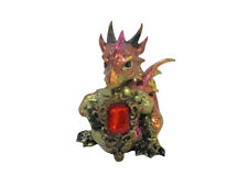 Dragon Sitting on a Rock with Coloured Gems - Green / Purple / Red / White