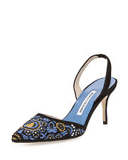 New MANOLO BLAHNIK Black Blue Carolyne Carolyneric Embroidered Halter SHOES 37